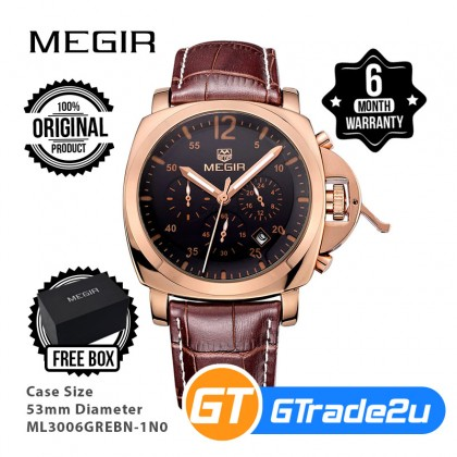 MEGIR Men Chronograph Male Watch ML3006GREBN-1N0 Rose Gold 30M Water Resistant Genuine Leather Strap