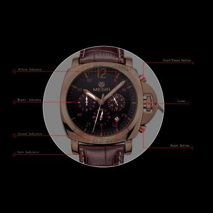 MEGIR Men Chronograph Male Watch ML3006G-BK-1 Black 30M Water Resistant Genuine Leather Strap