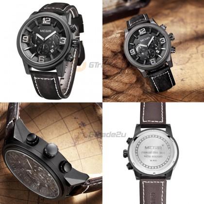 MEGIR Men Chronograph Male Watch ML3010G-BK-1 Black 30M Water Resistant Genuine Leather Strap