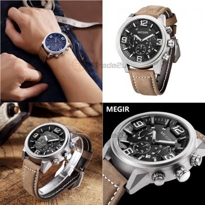 MEGIR Men Chronograph Male Watch ML3010GBN-BK-1 Black 30M Water Resistant Genuine Leather Strap