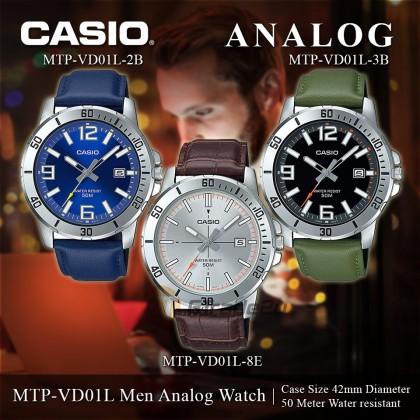 Casio Men MTP-VD01L-2B Blue Analog Watch Jam Tangan Lelaki Leather Band [PRE]