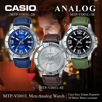 [READY STOCK] Casio Men MTP-VD01L-8E Grey Analog Watch Jam Tangan Lelaki Leather Band