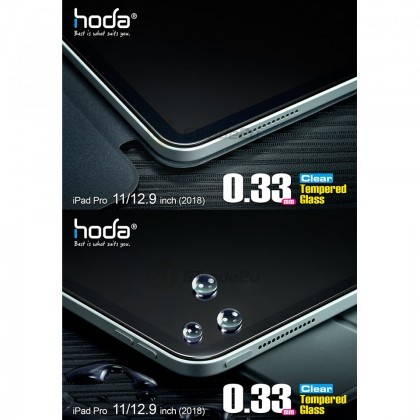 """Hoda 0.33mm Crystal Clear Tempered Glass Screen Protector Apple iPad Pro 11"""" 2018"""