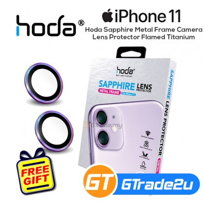 Hoda Sapphire Metal Frame Camera Lens Protector Apple iPhone 11 Flamed Titanium