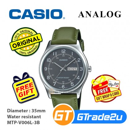 Casio Men MTP-V006L-3B Analog Watch [READY STOCK] watch for man jam tangan lelaki