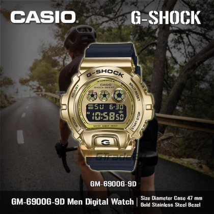 Casio G-Shock Men GM-6900G-9D GM6900G-9D GM-6900G-9 Digital Gold Metal Covered Bezel Watch Kilat Gold Black Resin Band G Shock . watch for man . jam tangan lelaki . casio watch for men . casio watch . men watch . watch for men [READY STOCK]