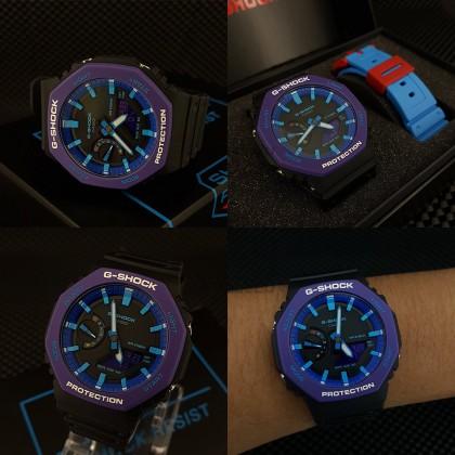 Casio G-Shock Men GA-2100THS-1A GA-2100THS-1 GA2100THS-1A Analog Digital Joker Tmj Extra Band  Watch Purple Black Resin Band G Shock . watch for man . jam tangan lelaki . casio watch for men . casio watch . men watch . watch for men [READY STOCK]