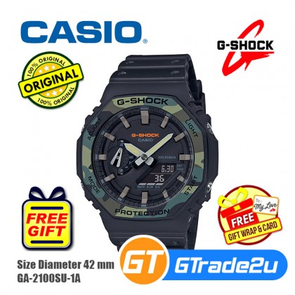 Casio G-Shock Men GA-2100SU-1A GA-2100SU-1 GA2100SU-1A Analog Digital Tmj Army Military Camouflage Watch Black Resin Band G Shock . watch for man . jam tangan lelaki . casio watch for men . casio watch . men watch . watch for men [READY STOCK]