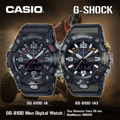 Casio G-Shock Men GG-B100-1A GG-B100-1 GGB100-1A Analog Digital MudMaster Quad Sensor Watch Black Resin Band G Shock . watch for man . jam tangan lelaki . casio watch for men . casio watch . men watch . watch for men [READY STOCK]