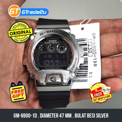 Casio G-Shock Men GM-6900-1D GM-6900-1 GM6900-1D Digital Metal Covered Bezel Watch Silver Black Resin Band G Shock . watch for man . jam tangan lelaki . casio watch for men . casio watch . men watch . watch for men [READY STOCK]