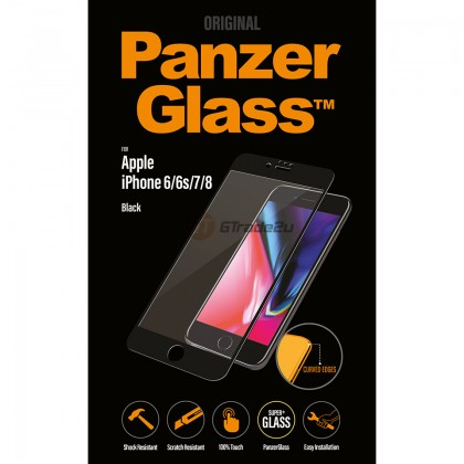 [MCO SALE] PanzerGlass Full Cover 3D Tempered Glass Screen Proctector Black Apple iPhone 8 7 6s *Free Gift