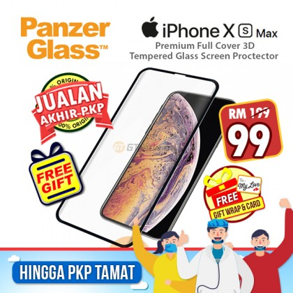[MCO SALE] PanzerGlass Premium Full Cover 3D Tempered Glass Screen Proctector Apple iPhone Xs Max *Free Gift