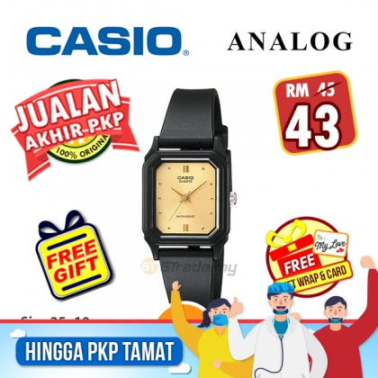 [MCO SALE] Casio Standard Women LQ-142E-9A Analog Water Resistant Watch Black Gold Resin Band jam tangan wanita . casio watch . casio watch women
