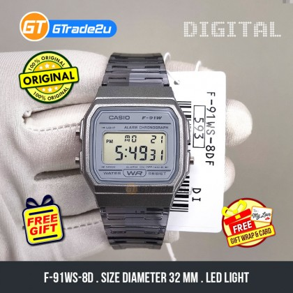 Casio Stardard Men F-91WS-8D F91WS-8D F-91WS-8 Digital Jelly Semi Transparent Watch Black Grey Resin Band watch for man . jam tangan lelaki . casio watch for men . casio watch . men watch . watch for men [READY STOCK]