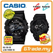 CASIO G-SHOCK BABY-G GA-110-1B BA-110BC-1A Couple Watch Matt Black
