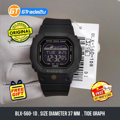 Casio Baby-G Ladies Women BLX-560-1D BLX-560-1 BLX560-1D Digital Baby-G G-Lide Watch Black Resin Band Baby G . jam tangan wanita . casio watch . casio watch women [READY STOCK]