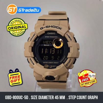 Casio G-Shock Men GBD-800UC-5D GBD-800UC-5 GBD800UC-5D Digital Bluetooth G-SQUAD Step Tracker Watch Brown Resin Band G Shock . watch for man . jam tangan lelaki . casio watch for men . casio watch . men watch . watch for men [READY STOCK]