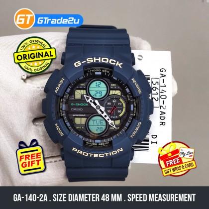 Casio G-Shock Men GA-140-2A GA140-2A Analog Digital Watch Blue Resin Band G Shock . watch for man . jam tangan lelaki . casio watch for men . casio watch . men watch . watch for men [READY STOCK]