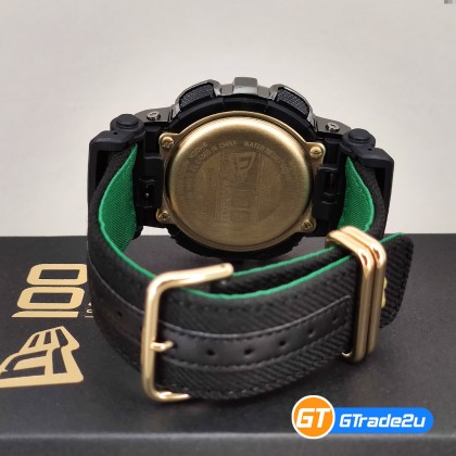 Casio G-Shock GM-110NE-1A GM110NE-1A Analog Digital GM New Era Watch Gold Black Cloth Resin Band G Shock . watch for man . jam tangan lelaki . casio watch for men . casio watch . men watch . watch for men [READY STOCK]