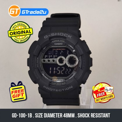Casio G-Shock GD-100-1B GD100-1B Digital GD100 All Black Watch Black Resin Band G Shock . watch for man . jam tangan lelaki . casio watch for men . casio watch . men watch . watch for men [READY STOCK]
