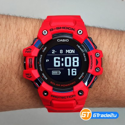 Casio G-Shock Men GBD-H1000-4D GBD-H1000-4 GBDH1000-4D Digital G-SQUAD Heart Rate GPS Watch Red Resin Band G Shock . watch for man . jam tangan lelaki . casio watch for men . casio watch . men watch . watch for men [READY STOCK]