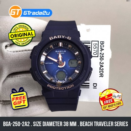 Casio Baby-G Ladies Women BGA-250-2A2 BGA250-2A2 Analog Digital Watch Blue Resin Band Baby G . jam tangan wanita . casio watch . casio watch women [READY STOCK]