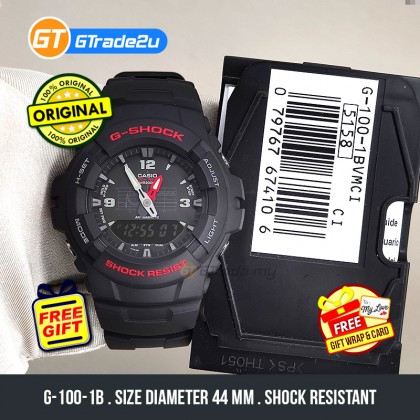 Casio G-Shock Men G-100-1B G100-1B Analog Digital Watch Black Resin Band G Shock . watch for man . jam tangan lelaki . casio watch for men . casio watch . men watch . watch for men [READY STOCK]