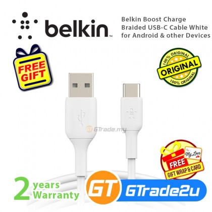 Belkin Boost Charge Braided USB-C Cable White for Android & other Devices