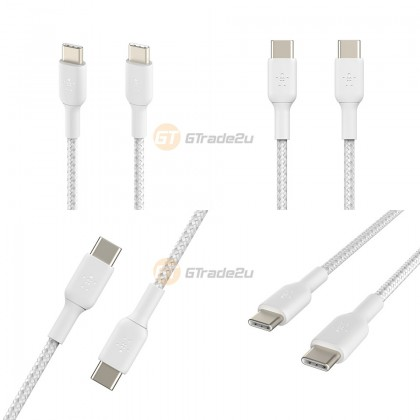 Belkin Boost Charge Braided USB-C to USB-C Cable White for Android & other Devices
