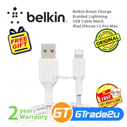 Belkin Boost Charge Braided Lightning USB Cable White iPad iPhone 12 11 Pro Max Mini