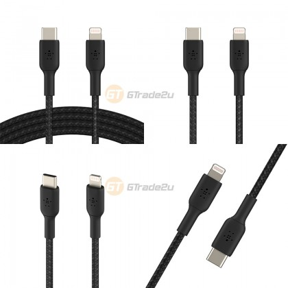 Belkin Boost Charge Braided USB-C to Lightning Cable Black iPad iPhone 12 11 Pro Max Mini