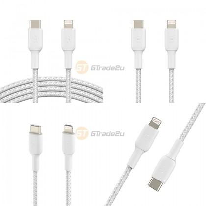 Belkin Boost Charge Braided USB-C to Lightning Cable White iPad iPhone 12 11 Pro Max Mini