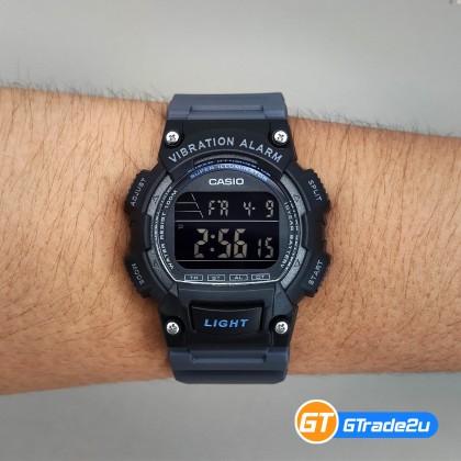 Casio Standard Men W-736H-8B W736H-8B Digital Vibration Alarm Watch Black Band watch for man . jam tangan lelaki . casio watch for men . casio watch . men watch . watch for men [READY STOCK]