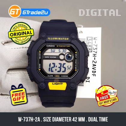 [CLEAR STOCK] Casio Stardard Men W-737H-2A W-737H-2 W737H-2A Digital Watch Blue Resin Band watch for man . jam tangan lelaki . casio watch for men . casio watch . men watch . watch for men [READY STOCK]