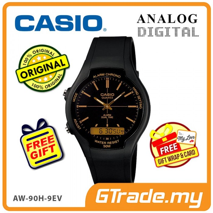 54c70748e60  READY STOCK  CASIO STANDARD AW-90H-9EV Analog Digital Watch