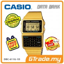 [READY STOCK] CASIO DATA BANK DBC-611G-1D Digital Watch | Gold Calculator Auto LED