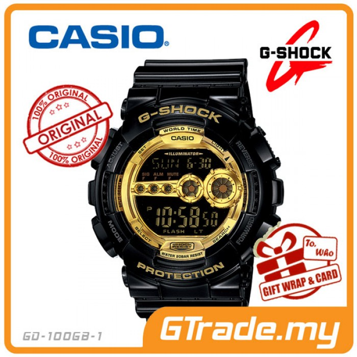 Casio g shock gd 100gb 1 standard digital watch glossy black gold gumiabroncs Choice Image