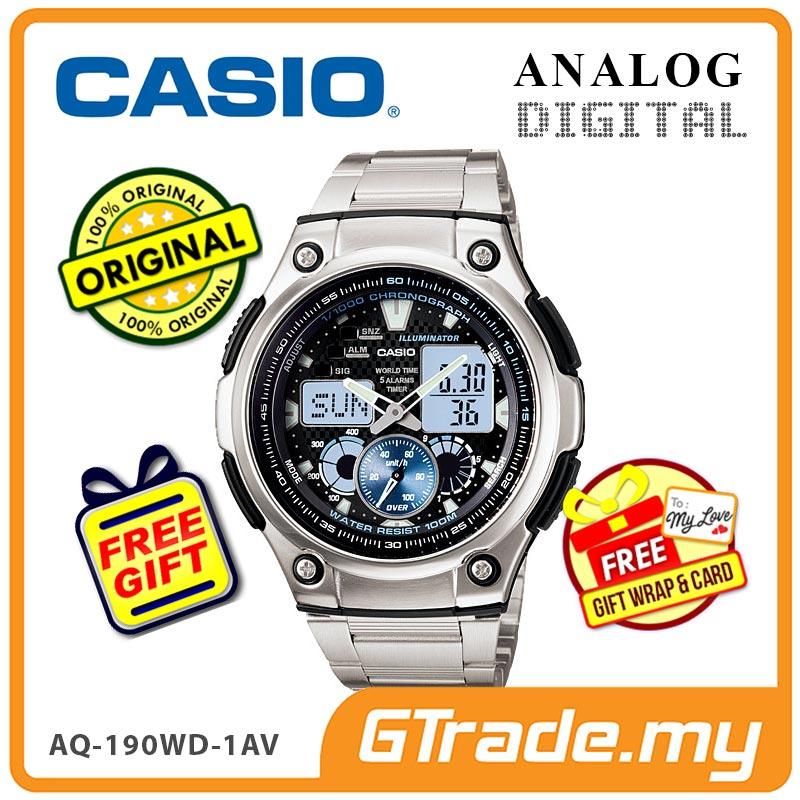 bf4866e7bd6 CASIO STANDARD AQ-190WD-1AV Analog Digital Watch Wolrd Time Stopwatch